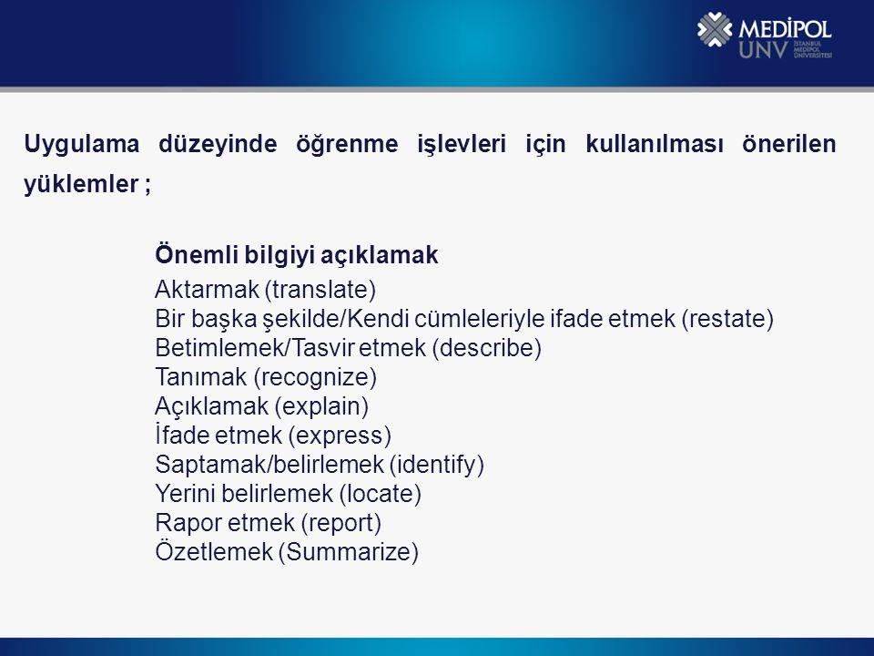 Uygulama düzeyinde öğrenme işlevleri için kullanılması önerilen yüklemler ; Önemli bilgiyi açıklamak Aktarmak (translate) Bir başka şekilde/Kendi cüml