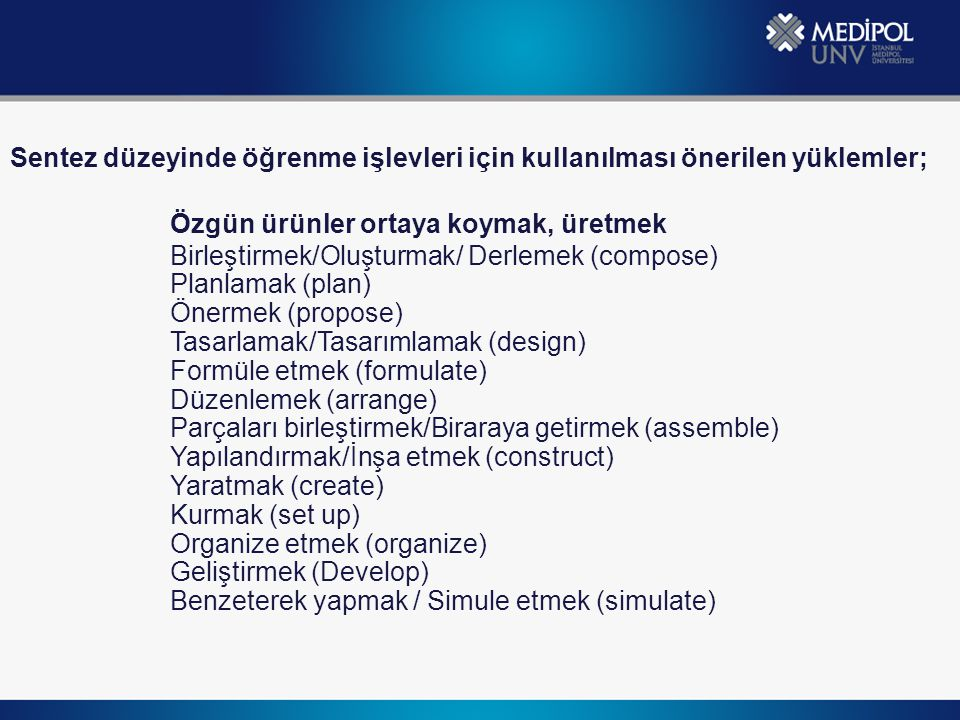 Özgün ürünler ortaya koymak, üretmek Birleştirmek/Oluşturmak/ Derlemek (compose) Planlamak (plan) Önermek (propose) Tasarlamak/Tasarımlamak (design) Formüle etmek (formulate) Düzenlemek (arrange) Parçaları birleştirmek/Biraraya getirmek (assemble) Yapılandırmak/İnşa etmek (construct) Yaratmak (create) Kurmak (set up) Organize etmek (organize) Geliştirmek (Develop) Benzeterek yapmak / Simule etmek (simulate) Sentez düzeyinde öğrenme işlevleri için kullanılması önerilen yüklemler;