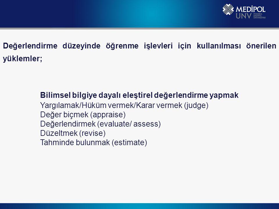 Değerlendirme düzeyinde öğrenme işlevleri için kullanılması önerilen yüklemler; Bilimsel bilgiye dayalı eleştirel değerlendirme yapmak Yargılamak/Hüküm vermek/Karar vermek (judge) Değer biçmek (appraise) Değerlendirmek (evaluate/ assess) Düzeltmek (revise) Tahminde bulunmak (estimate)