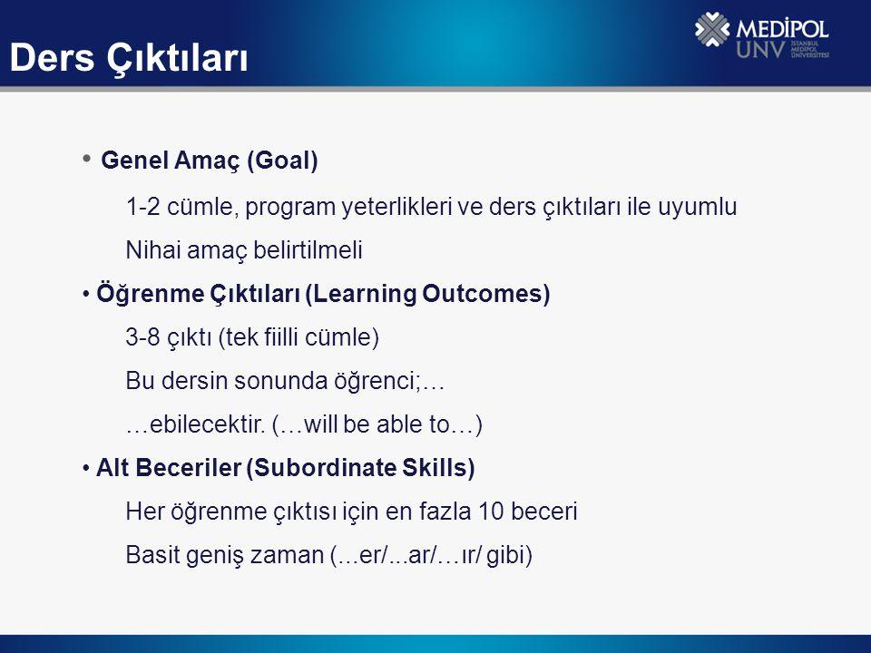 Genel Amaç (Goal) 1-2 cümle, program yeterlikleri ve ders çıktıları ile uyumlu Nihai amaç belirtilmeli Öğrenme Çıktıları (Learning Outcomes) 3-8 çıktı (tek fiilli cümle) Bu dersin sonunda öğrenci;… …ebilecektir.
