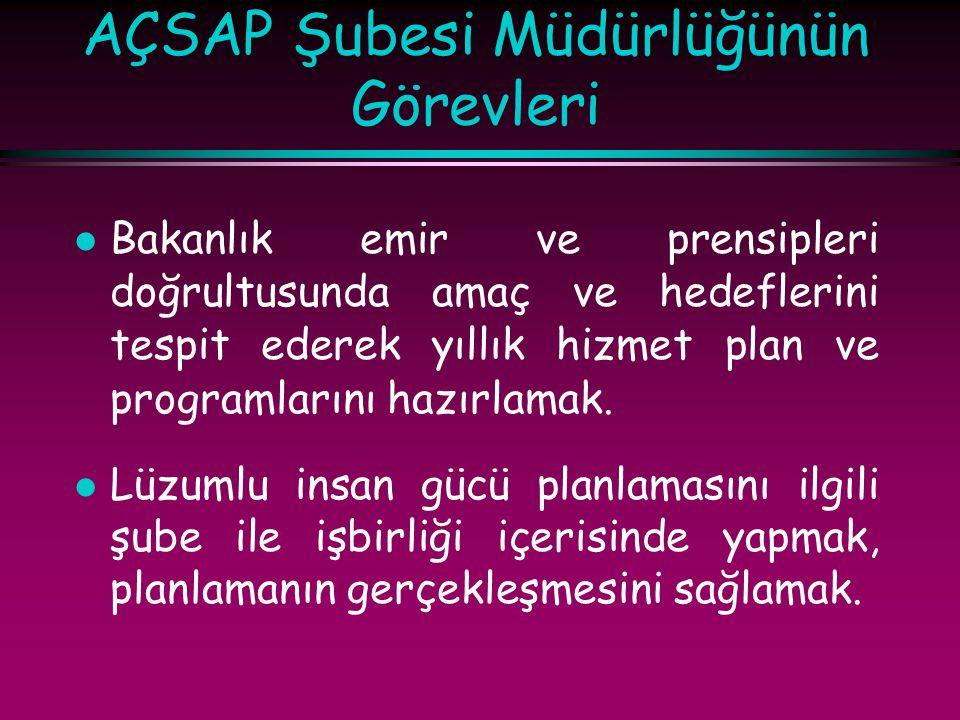 AÇSAP Şubesi Müdürlüğünün Görevleri l Bakanlık emir ve prensipleri doğrultusunda amaç ve hedeflerini tespit ederek yıllık hizmet plan ve programlarını