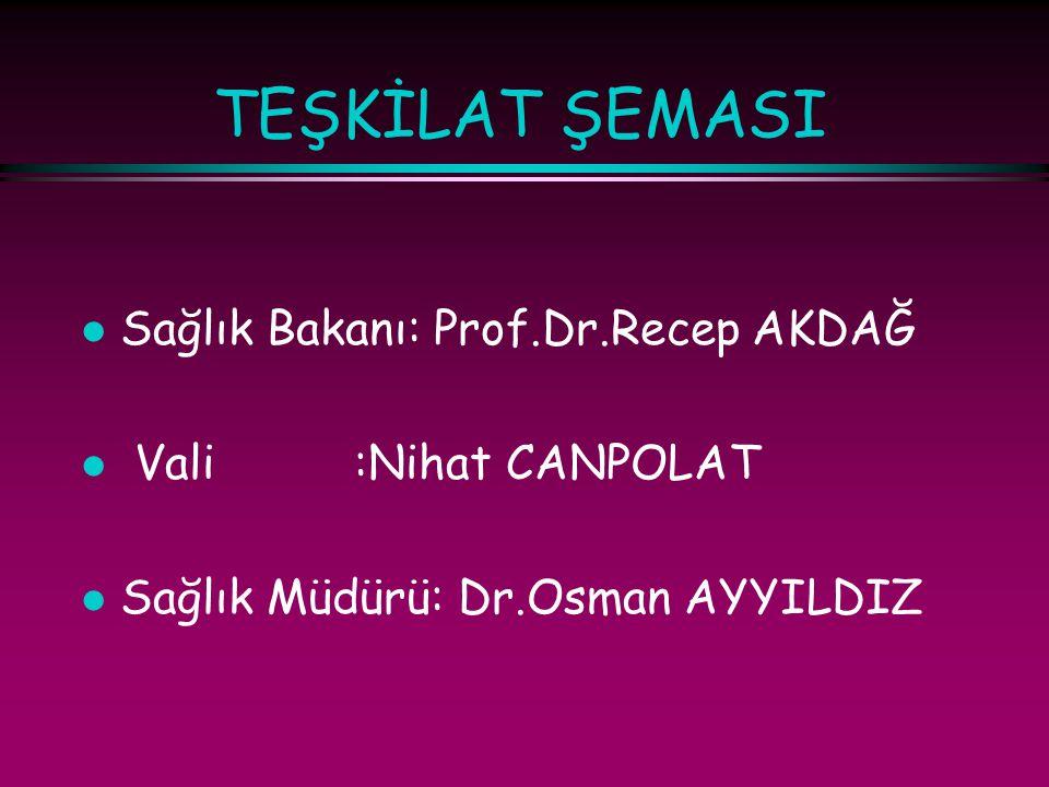 TEŞKİLAT ŞEMASI l Sağlık Bakanı: Prof.Dr.Recep AKDAĞ l Vali :Nihat CANPOLAT l Sağlık Müdürü: Dr.Osman AYYILDIZ