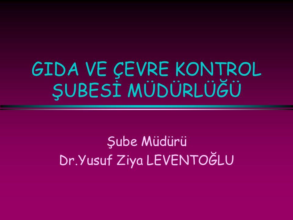 GIDA VE ÇEVRE KONTROL ŞUBESİ MÜDÜRLÜĞÜ Şube Müdürü Dr.Yusuf Ziya LEVENTOĞLU