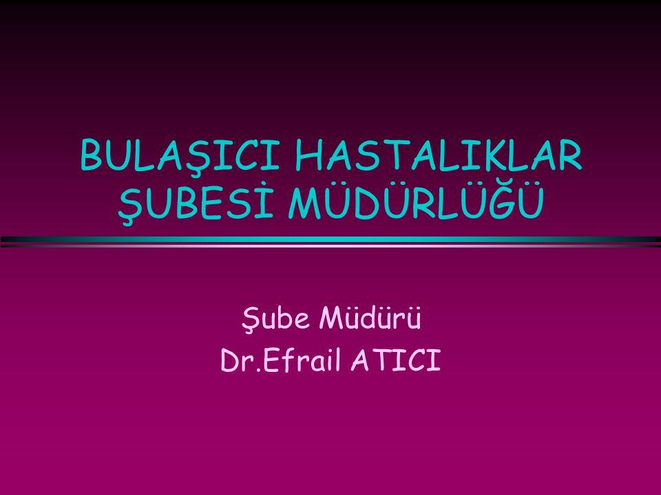 BULAŞICI HASTALIKLAR ŞUBESİ MÜDÜRLÜĞÜ Şube Müdürü Dr.Efrail ATICI
