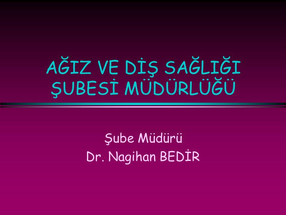 AĞIZ VE DİŞ SAĞLIĞI ŞUBESİ MÜDÜRLÜĞÜ Şube Müdürü Dr. Nagihan BEDİR