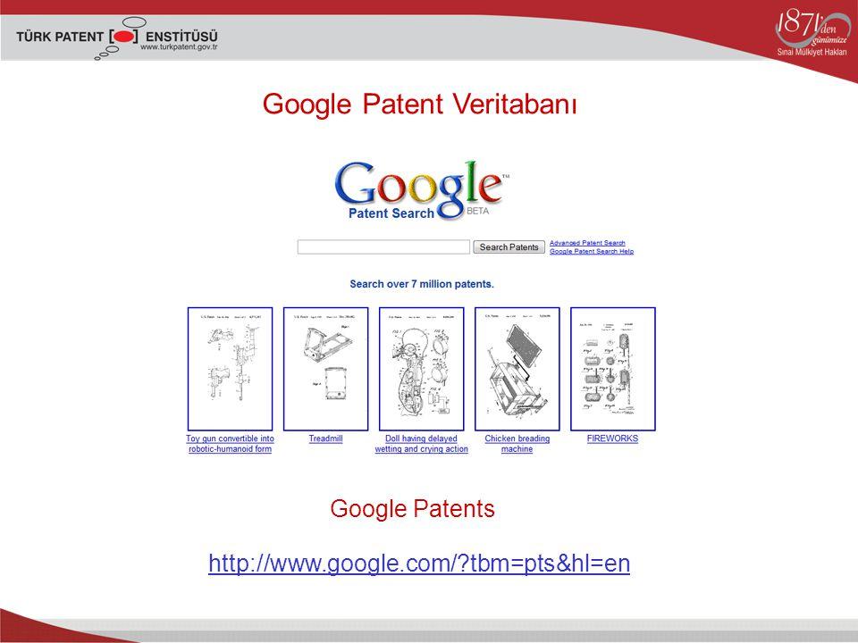 Google Patent Veritabanı Google Patents http://www.google.com/?tbm=pts&hl=en