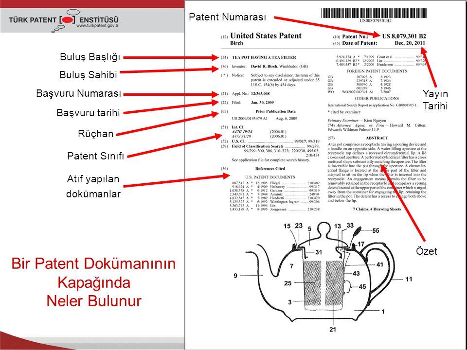 Başvuru tarihi Buluş Sahibi Başvuru Numarası Buluş Başlığı Patent Sınıfı Atıf yapılan dokümanlar Özet Bir Patent Dokümanının Kapağında Neler Bulunur Patent Numarası Yayın Tarihi Rüçhan
