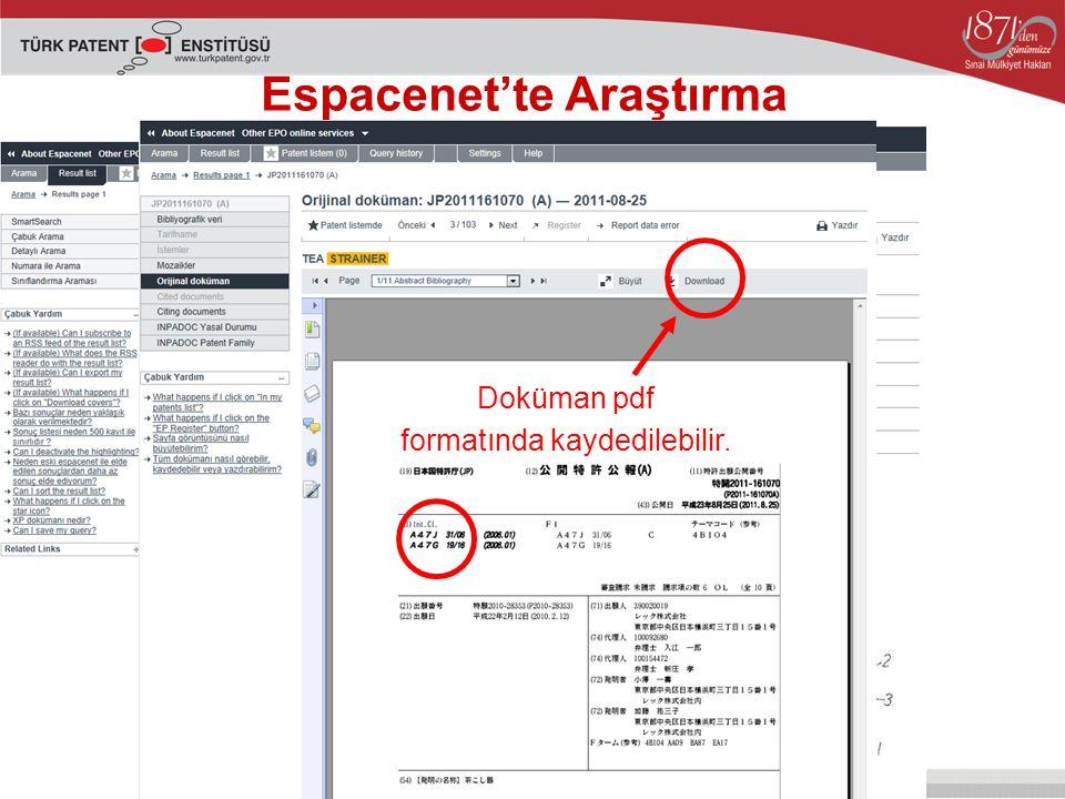Espacenet'te Araştırma Doküman pdf formatında kaydedilebilir.