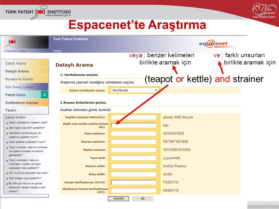 Espacenet'te Araştırma (teapot or kettle) and strainer veya : benzer kelimeleri birlikte aramak için ve : farklı unsurları birlikte aramak için