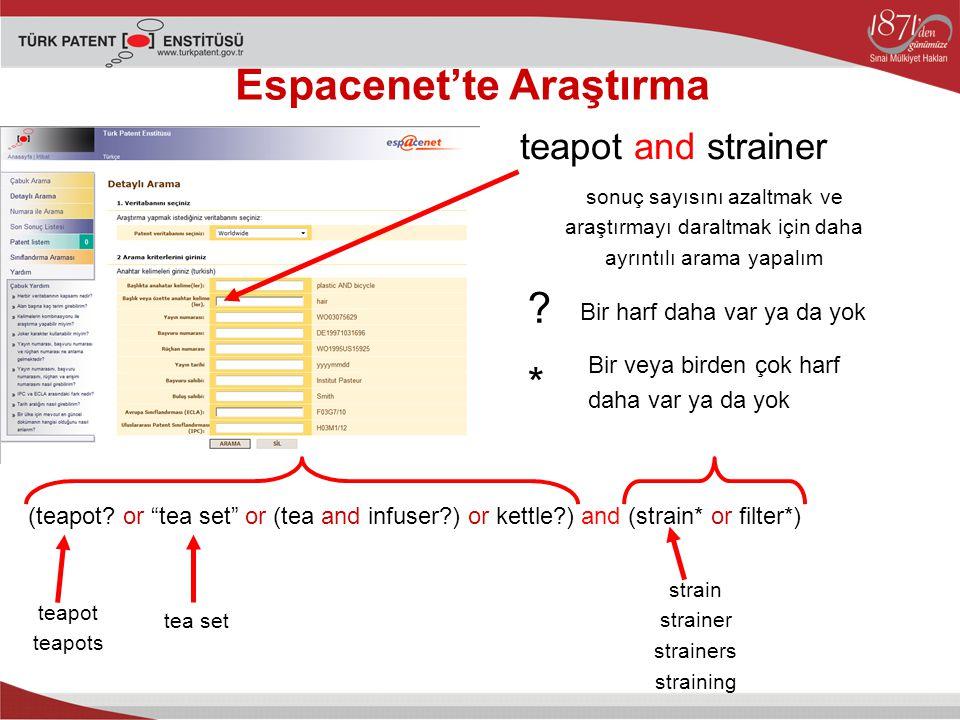 Espacenet'te Araştırma teapot and strainer sonuç sayısını azaltmak ve araştırmayı daraltmak için daha ayrıntılı arama yapalım (teapot.