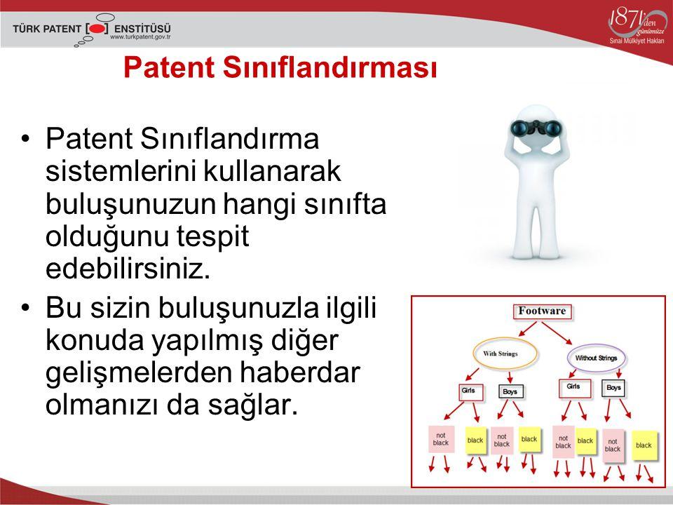 Patent Sınıflandırma sistemlerini kullanarak buluşunuzun hangi sınıfta olduğunu tespit edebilirsiniz.