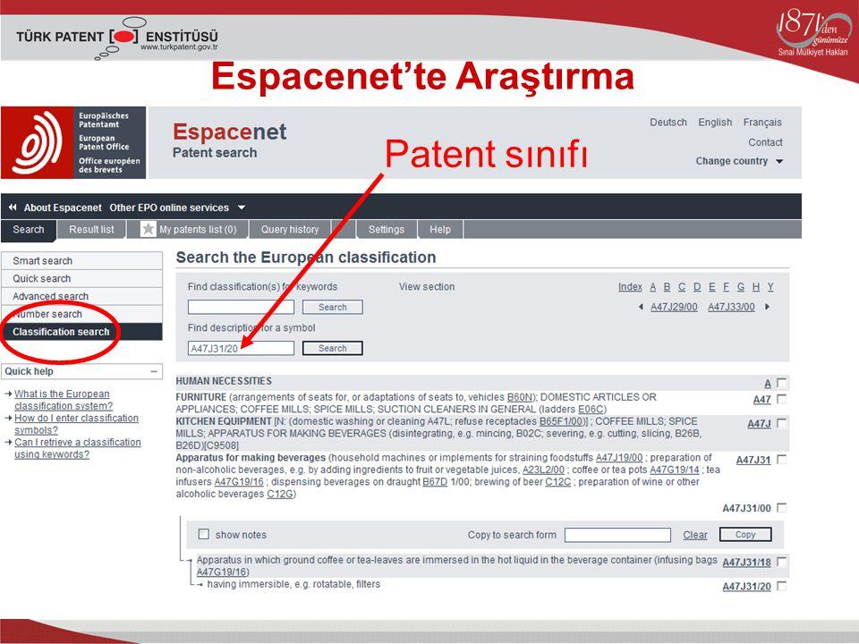 Espacenet'te Araştırma Patent sınıfı