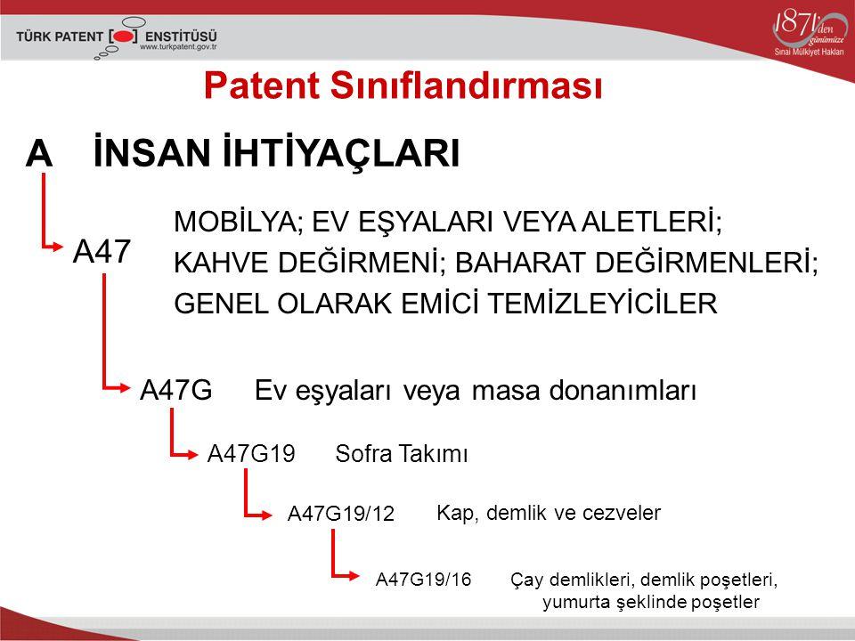 Patent Sınıflandırması A A47 A47G A47G19 A47G19/12 A47G19/16 İNSAN İHTİYAÇLARI MOBİLYA; EV EŞYALARI VEYA ALETLERİ; KAHVE DEĞİRMENİ; BAHARAT DEĞİRMENLERİ; GENEL OLARAK EMİCİ TEMİZLEYİCİLER Ev eşyaları veya masa donanımları Sofra Takımı Kap, demlik ve cezveler Çay demlikleri, demlik poşetleri, yumurta şeklinde poşetler