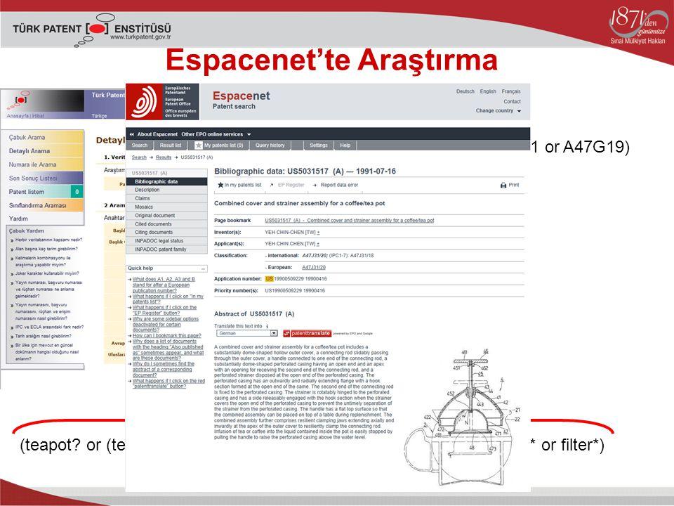 Espacenet'te Araştırma (teapot.