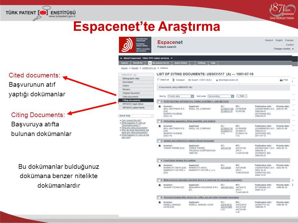 Espacenet'te Araştırma Cited documents: Başvurunun atıf yaptığı dokümanlar Citing Documents: Başvuruya atıfta bulunan dokümanlar Bu dokümanlar bulduğunuz dokümana benzer nitelikte dokümanlardır