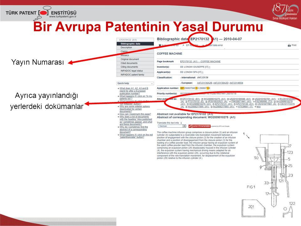 Bir Avrupa Patentinin Yasal Durumu Yayın Numarası Ayrıca yayınlandığı yerlerdeki dokümanlar