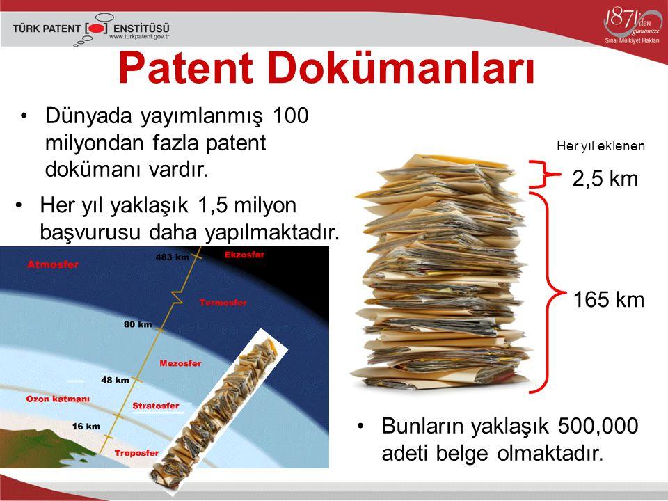 Dünyada yayımlanmış 100 milyondan fazla patent dokümanı vardır.