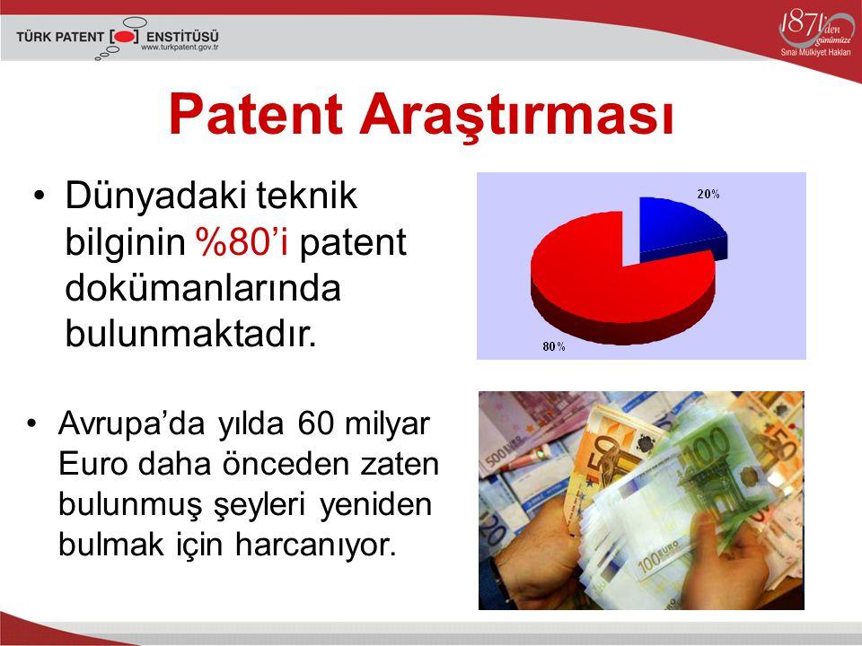 Patent Araştırması Dünyadaki teknik bilginin %80'i patent dokümanlarında bulunmaktadır.