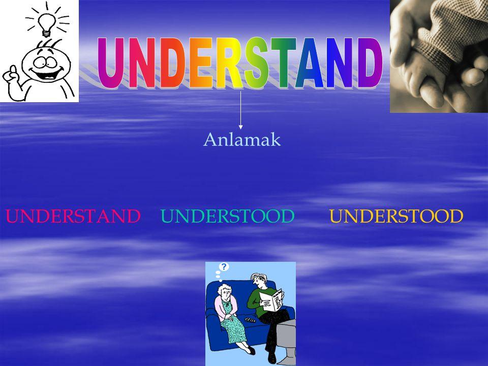 Anlamak UNDERSTAND UNDERSTOOD UNDERSTOOD