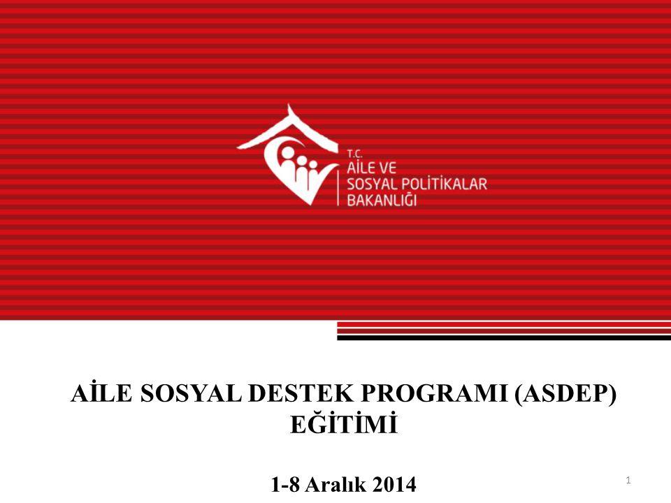 1 AİLE SOSYAL DESTEK PROGRAMI (ASDEP) EĞİTİMİ 1-8 Aralık 2014