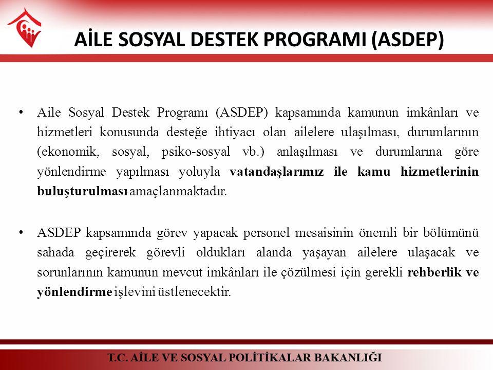 Aile Sosyal Destek Programı (ASDEP) kapsamında kamunun imkânları ve hizmetleri konusunda desteğe ihtiyacı olan ailelere ulaşılması, durumlarının (ekon