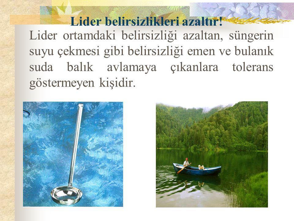 Lider ortamdaki belirsizliği azaltan, süngerin suyu çekmesi gibi belirsizliği emen ve bulanık suda balık avlamaya çıkanlara tolerans göstermeyen kişid