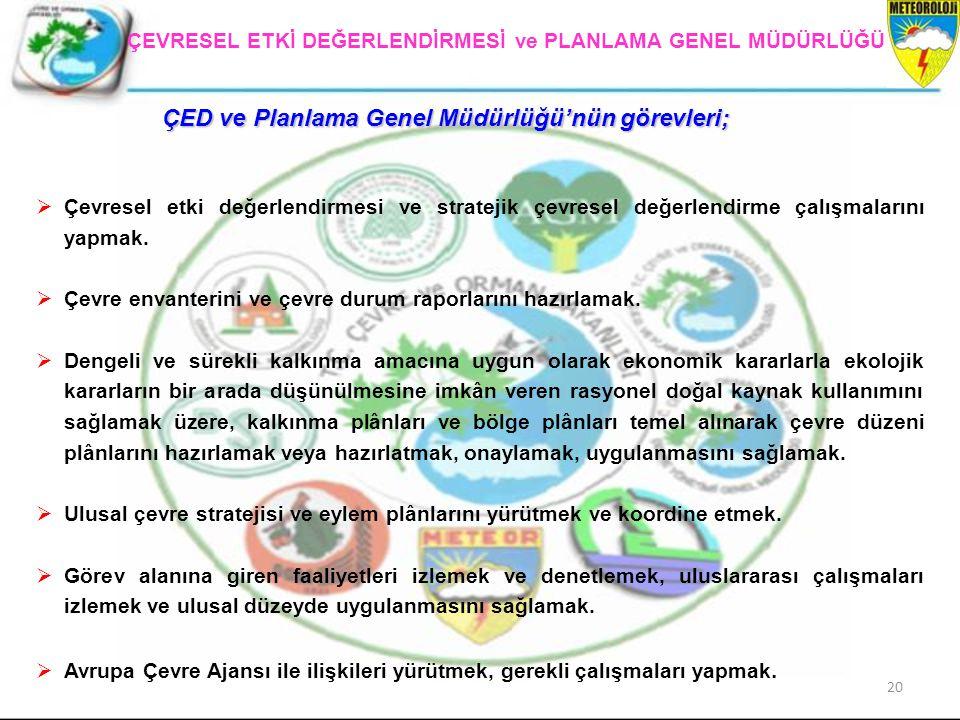 20 ÇEVRESEL ETKİ DEĞERLENDİRMESİ ve PLANLAMA GENEL MÜDÜRLÜĞÜ ÇED ve Planlama Genel Müdürlüğü'nün görevleri;  Çevresel etki değerlendirmesi ve stratej