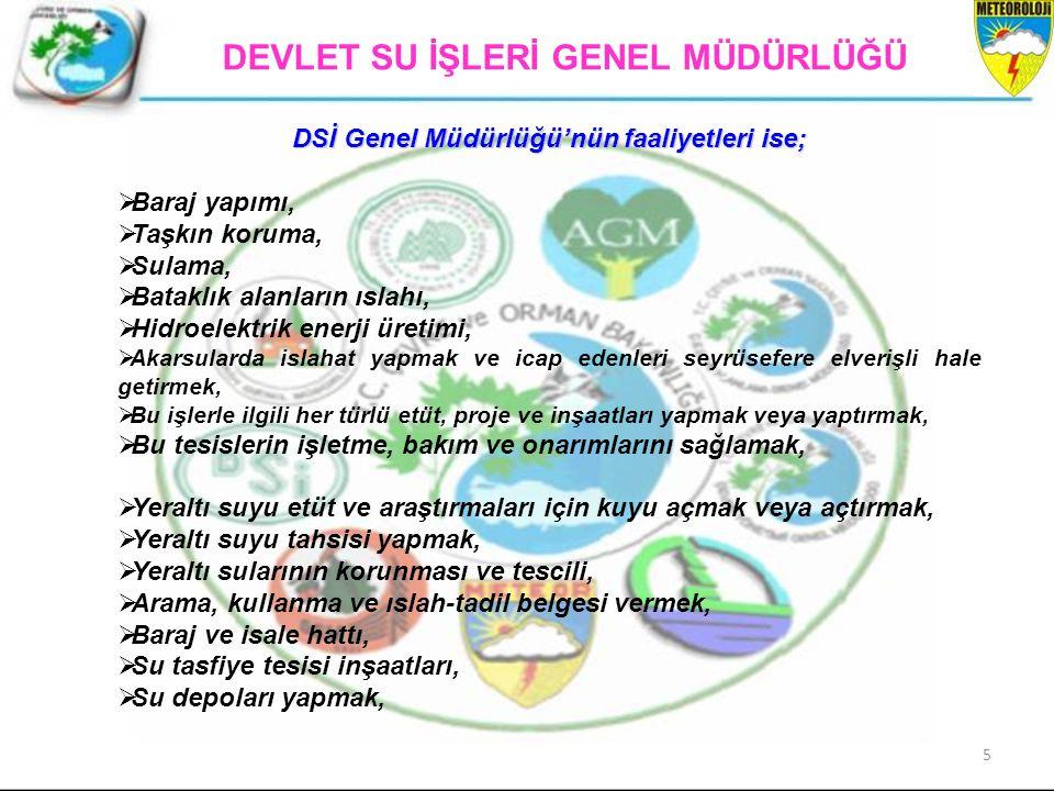 5 DSİ Genel Müdürlüğü'nün faaliyetleri ise;  Baraj yapımı,  Taşkın koruma,  Sulama,  Bataklık alanların ıslahı,  Hidroelektrik enerji üretimi, 