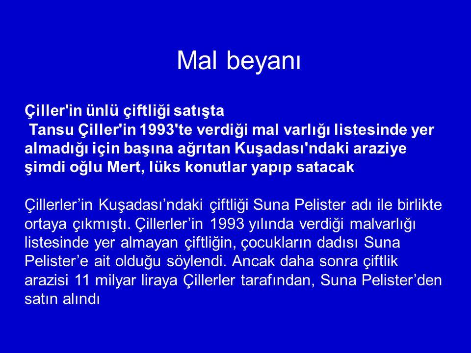 Mal beyanı Çiller'in ünlü çiftliği satışta Tansu Çiller'in 1993'te verdiği mal varlığı listesinde yer almadığı için başına ağrıtan Kuşadası'ndaki araz