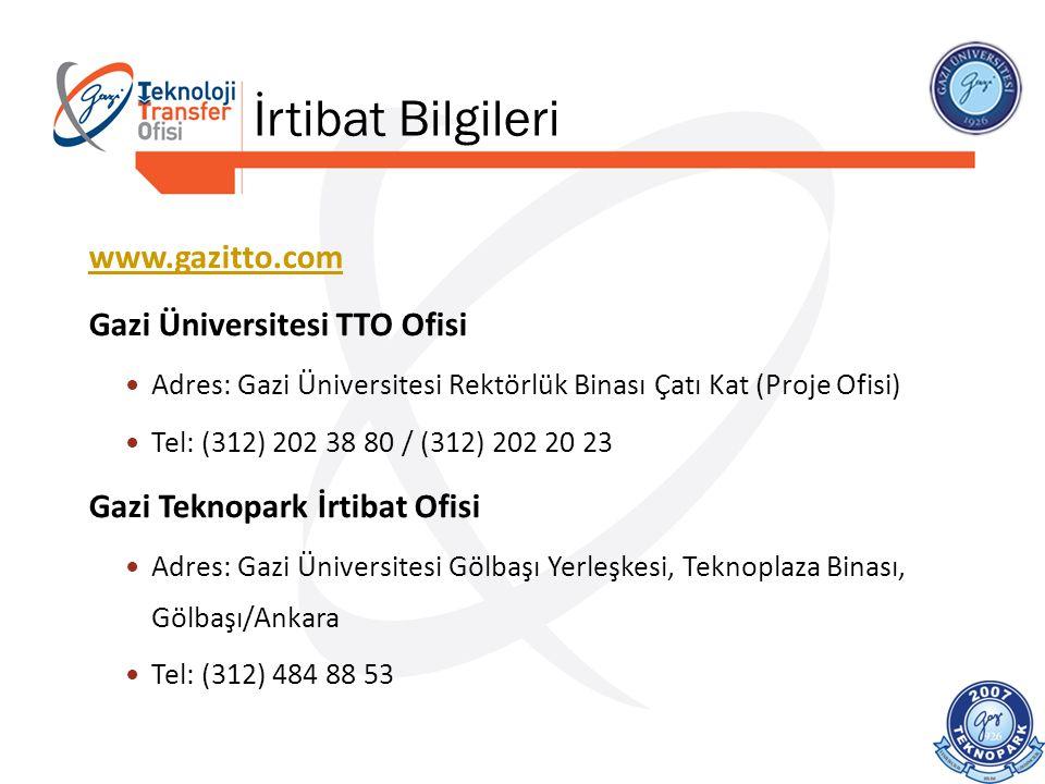 www.gazitto.com Gazi Üniversitesi TTO Ofisi Adres: Gazi Üniversitesi Rektörlük Binası Çatı Kat (Proje Ofisi) Tel: (312) 202 38 80 / (312) 202 20 23 Ga