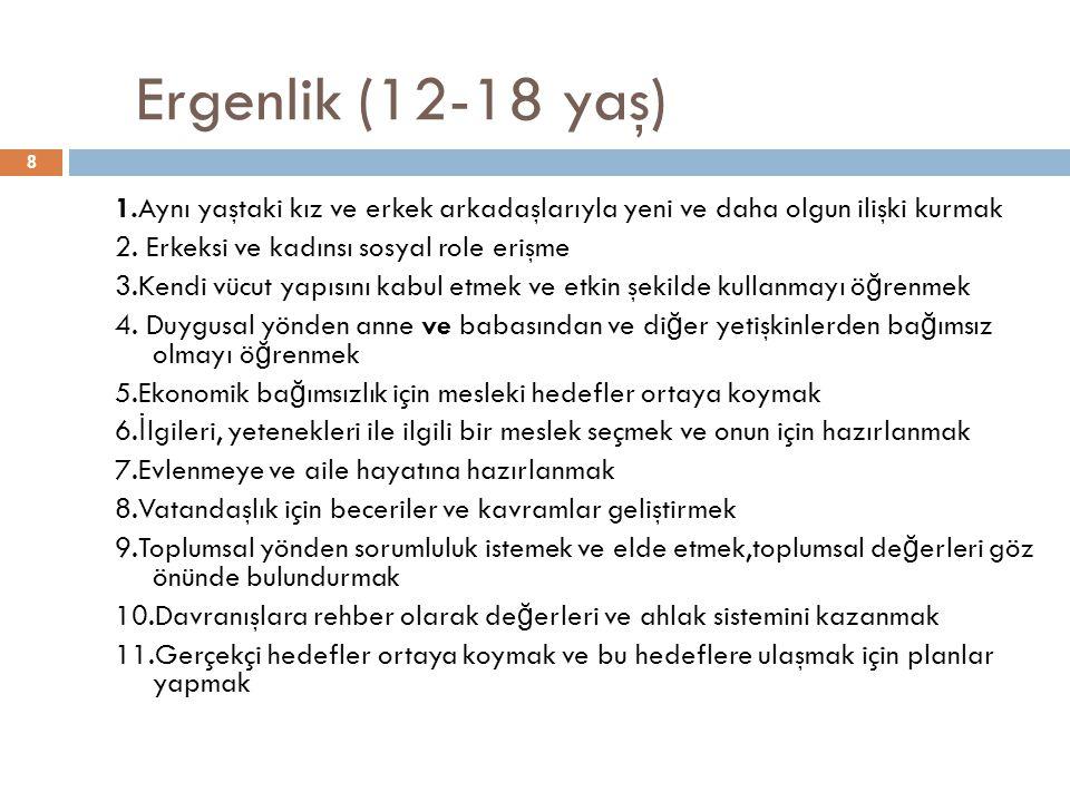 8 Ergenlik (12-18 yaş) 1.Aynı yaştaki kız ve erkek arkadaşlarıyla yeni ve daha olgun ilişki kurmak 2.