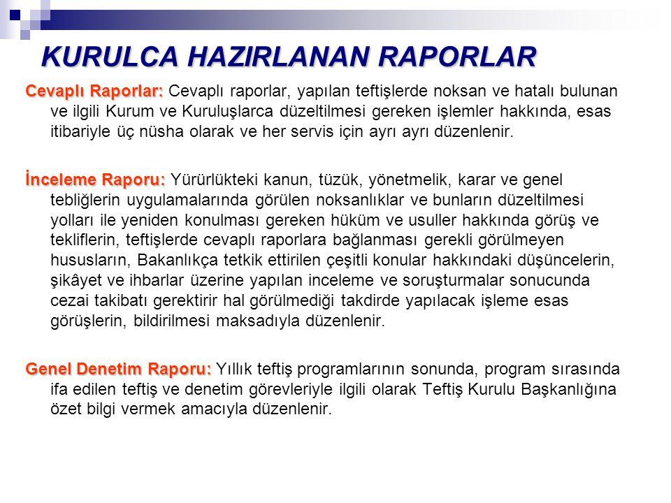 KURULCA HAZIRLANAN RAPORLAR Cevaplı Raporlar: Cevaplı Raporlar: Cevaplı raporlar, yapılan teftişlerde noksan ve hatalı bulunan ve ilgili Kurum ve Kuru
