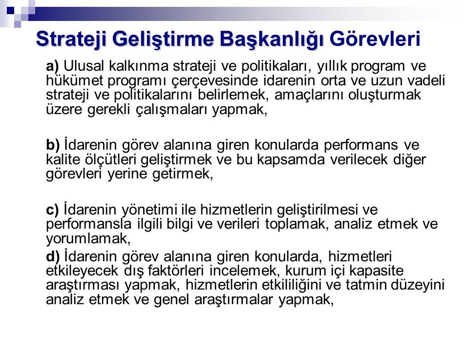 Strateji Geliştirme Başkanlığı Strateji Geliştirme Başkanlığı Görevleri a) Ulusal kalkınma strateji ve politikaları, yıllık program ve hükümet program