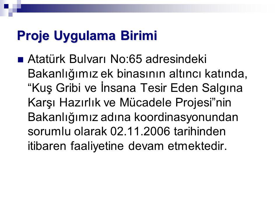 """Atatürk Bulvarı No:65 adresindeki Bakanlığımız ek binasının altıncı katında, """"Kuş Gribi ve İnsana Tesir Eden Salgına Karşı Hazırlık ve Mücadele Projes"""