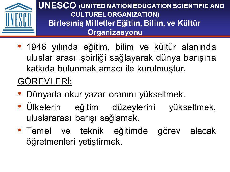 UNESCO (UNITED NATION EDUCATION SCIENTIFIC AND CULTUREL ORGANIZATION) Birleşmiş Milletler Eğitim, Bilim, ve Kültür Organizasyonu 1946 yılında eğitim, bilim ve kültür alanında uluslar arası işbirliği sağlayarak dünya barışına katkıda bulunmak amacı ile kurulmuştur.