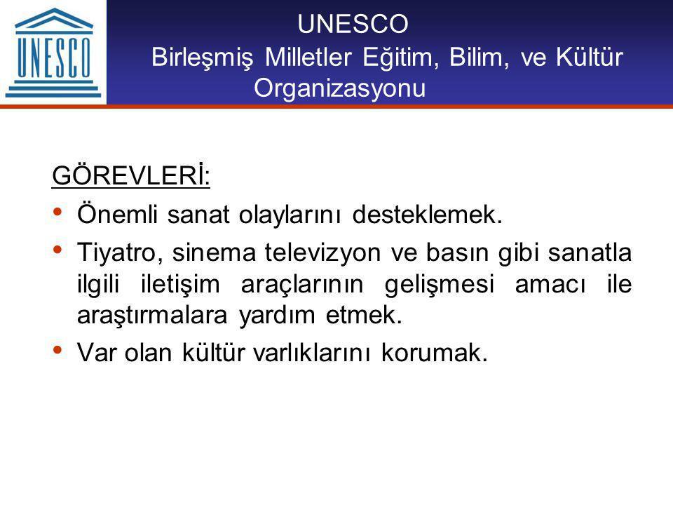 UNESCO Birleşmiş Milletler Eğitim, Bilim, ve Kültür Organizasyonu GÖREVLERİ: Önemli sanat olaylarını desteklemek.