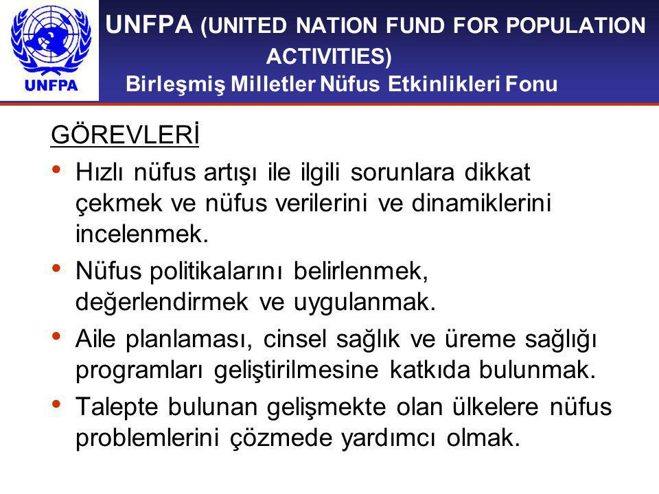 UNFPA (UNITED NATION FUND FOR POPULATION ACTIVITIES) Birleşmiş Milletler Nüfus Etkinlikleri Fonu GÖREVLERİ Hızlı nüfus artışı ile ilgili sorunlara dik