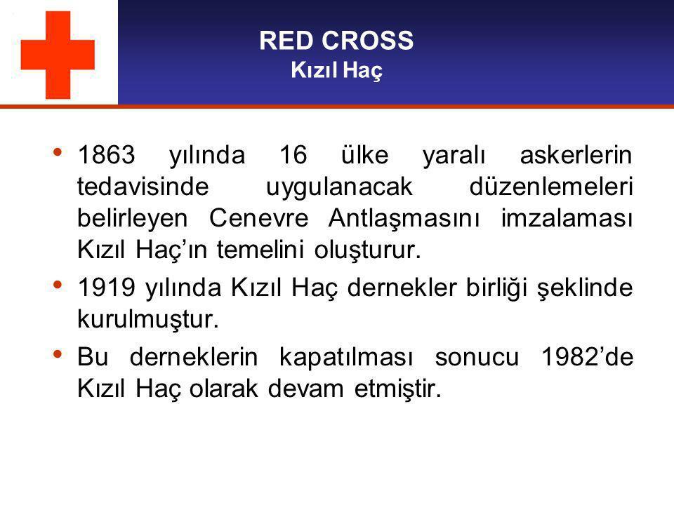 RED CROSS Kızıl Haç 1863 yılında 16 ülke yaralı askerlerin tedavisinde uygulanacak düzenlemeleri belirleyen Cenevre Antlaşmasını imzalaması Kızıl Haç'ın temelini oluşturur.