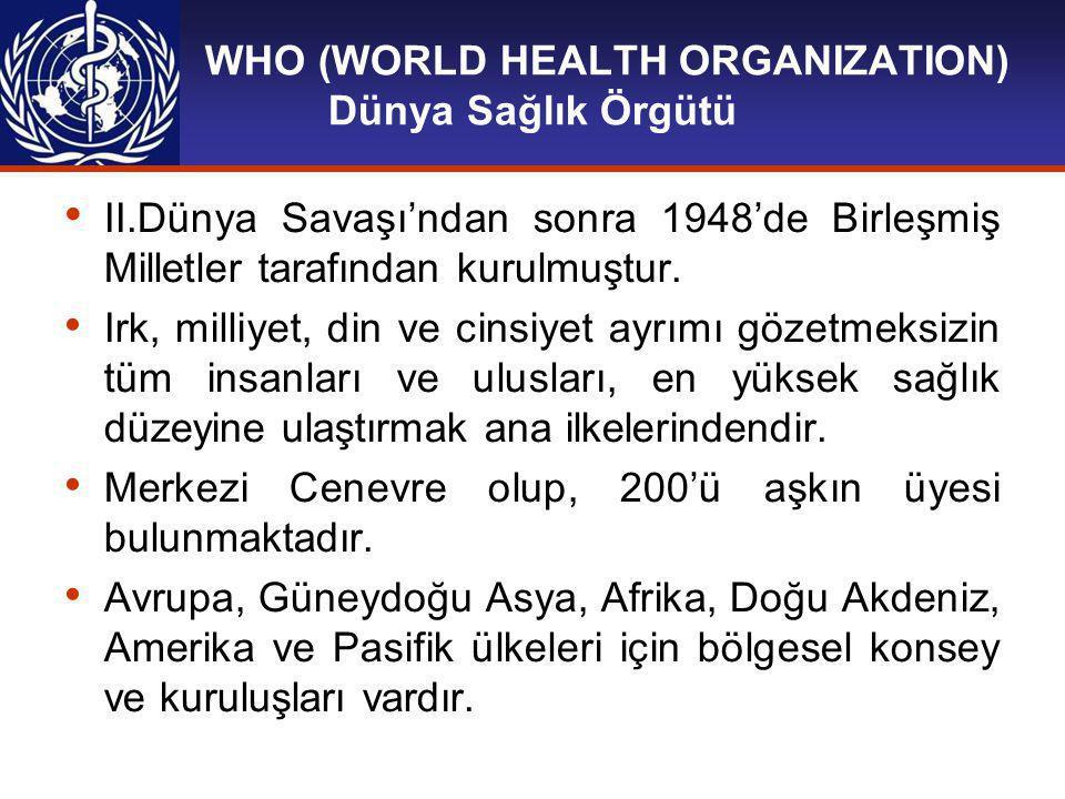 WHO (WORLD HEALTH ORGANIZATION) GÖREVLERİ: Ülkelerin sağlık kuruluşlarını güçlendirmek.