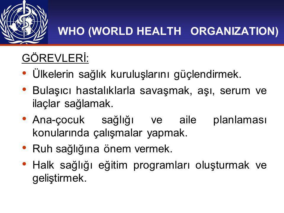 WHO (WORLD HEALTH ORGANIZATION) GÖREVLERİ: Sağlıkla ilgili bilimsel araştırmalar yapmak, geliştirmek ve araştırmaları desteklemek.