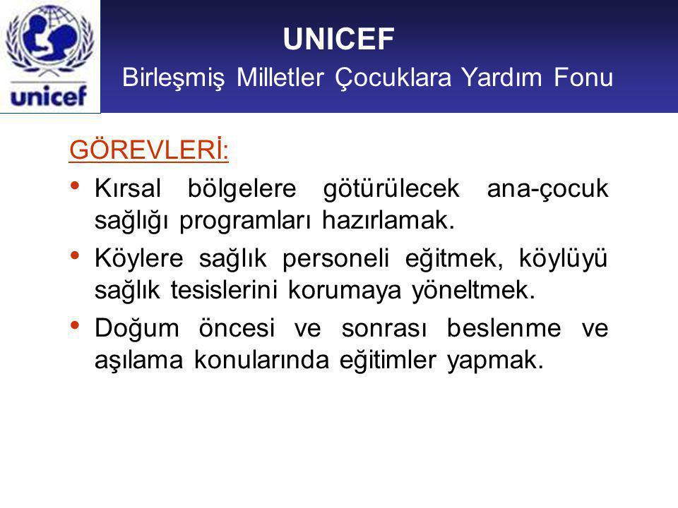 UNICEF Birleşmiş Milletler Çocuklara Yardım Fonu GÖREVLERİ: Kırsal bölgelere götürülecek ana-çocuk sağlığı programları hazırlamak.