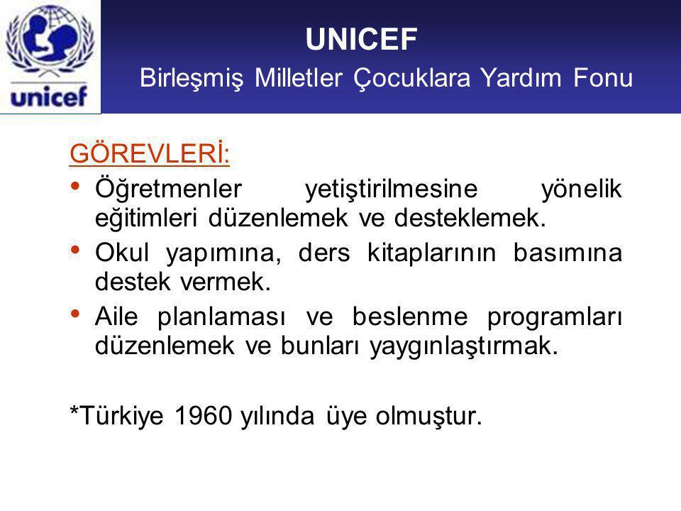 UNICEF Birleşmiş Milletler Çocuklara Yardım Fonu GÖREVLERİ: Öğretmenler yetiştirilmesine yönelik eğitimleri düzenlemek ve desteklemek.