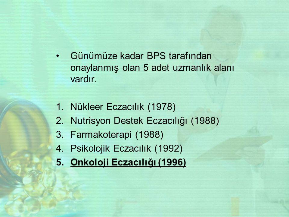 Günümüze kadar BPS tarafından onaylanmış olan 5 adet uzmanlık alanı vardır. 1.Nükleer Eczacılık (1978) 2.Nutrisyon Destek Eczacılığı (1988) 3.Farmakot