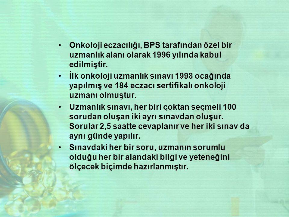 Onkoloji eczacılığı, BPS tarafından özel bir uzmanlık alanı olarak 1996 yılında kabul edilmiştir. İlk onkoloji uzmanlık sınavı 1998 ocağında yapılmış