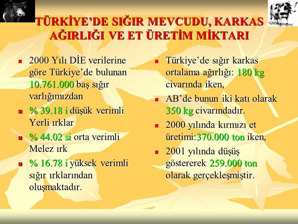 TÜRKİYE'DE SIĞIR MEVCUDU, KARKAS AĞIRLIĞI VE ET ÜRETİM MİKTARI 2000 Yılı DİE verilerine göre Türkiye'de bulunan 10.761.000 baş sığır varlığımızdan 200