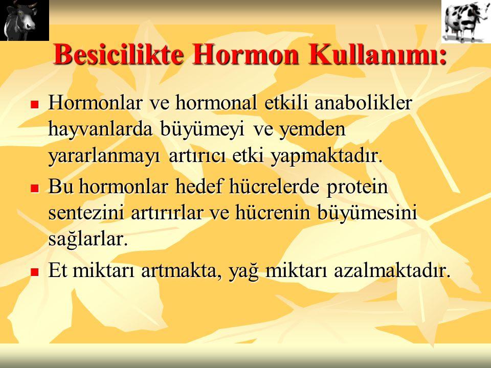Besicilikte Hormon Kullanımı: Hormonlar ve hormonal etkili anabolikler hayvanlarda büyümeyi ve yemden yararlanmayı artırıcı etki yapmaktadır. Hormonla