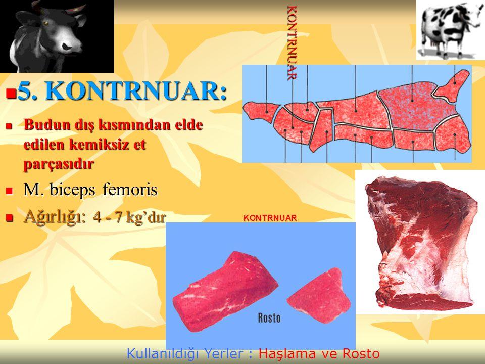 Budun dış kısmından elde edilen kemiksiz et parçasıdır Budun dış kısmından elde edilen kemiksiz et parçasıdır M. biceps femoris M. biceps femoris Ağır