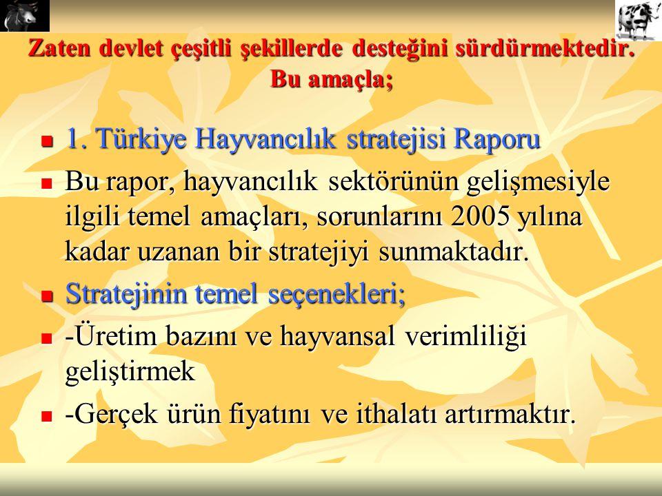Zaten devlet çeşitli şekillerde desteğini sürdürmektedir. Bu amaçla; 1. Türkiye Hayvancılık stratejisi Raporu 1. Türkiye Hayvancılık stratejisi Raporu