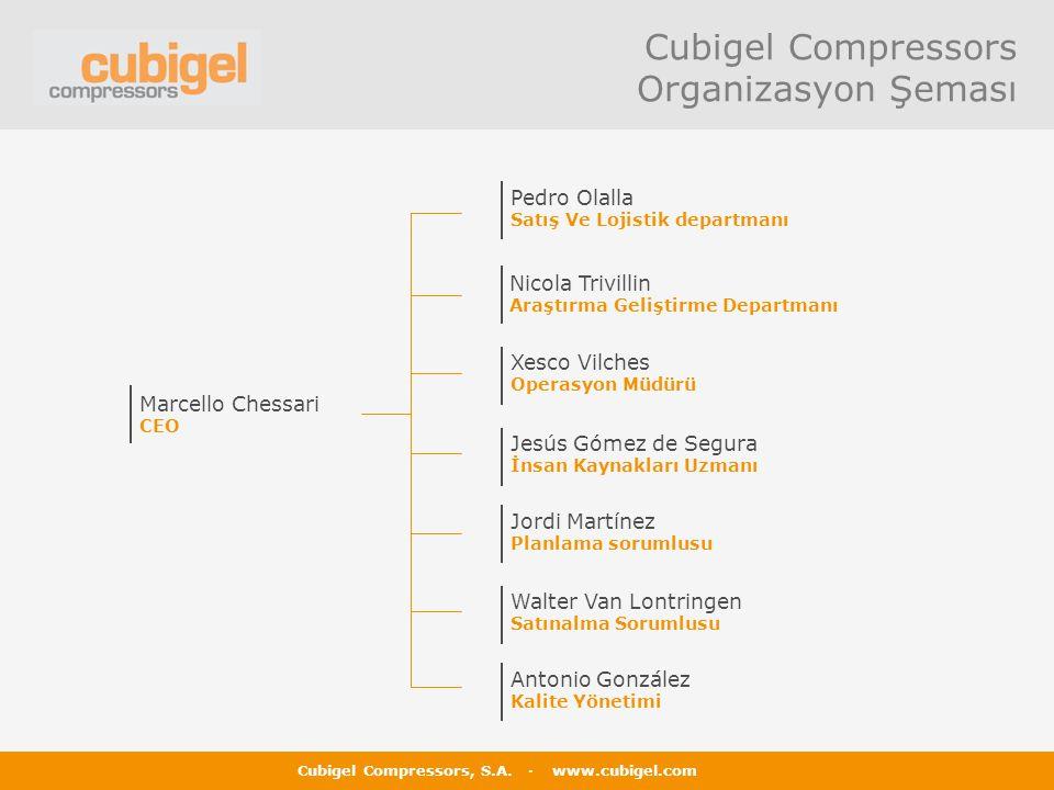 Cubigel Compressors, S.A. · www.cubigel.com Cubigel Compressors Organizasyon Şeması Marcello Chessari CEO Pedro Olalla Satış Ve Lojistik departmanı Ni