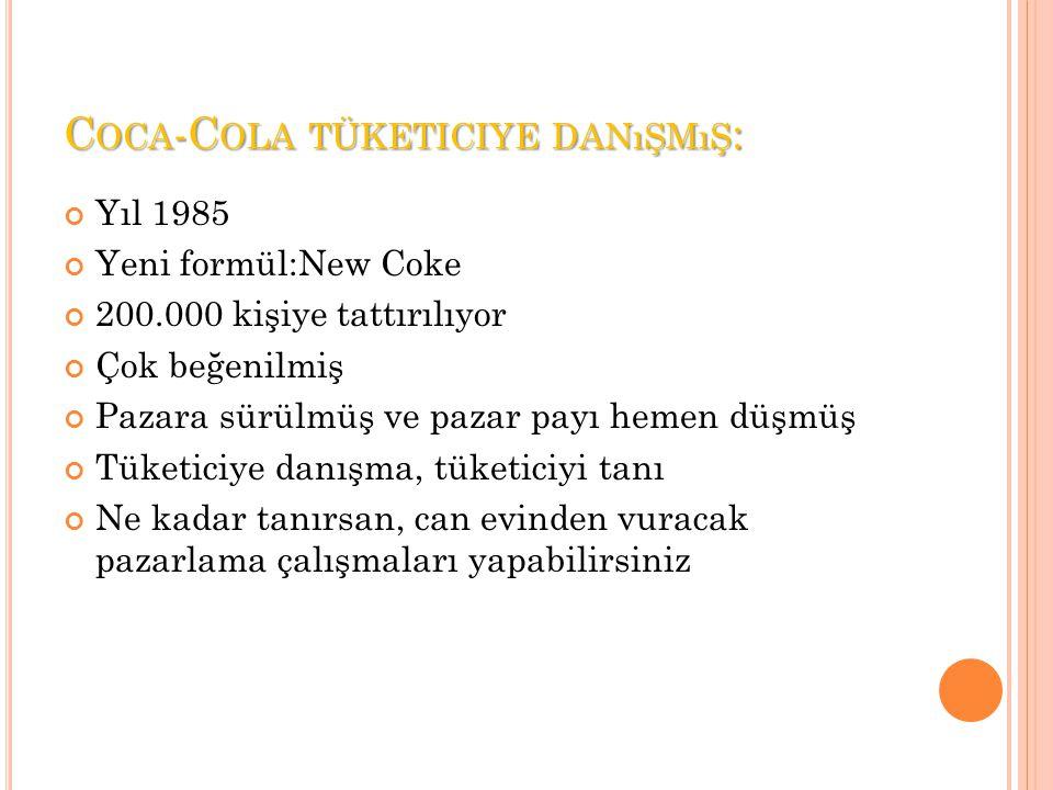 C OCA -C OLA TÜKETICIYE DANıŞMıŞ : Yıl 1985 Yeni formül:New Coke 200.000 kişiye tattırılıyor Çok beğenilmiş Pazara sürülmüş ve pazar payı hemen düşmüş